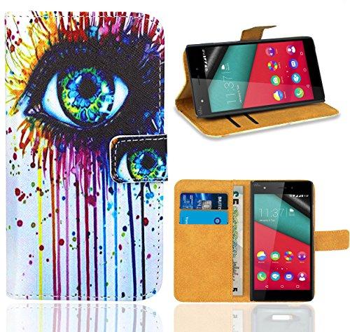FoneExpert® Wiko Pulp 4G Handy Tasche, Wallet Case Flip Cover Hüllen Etui Ledertasche Lederhülle Premium Schutzhülle für Wiko Pulp 4G