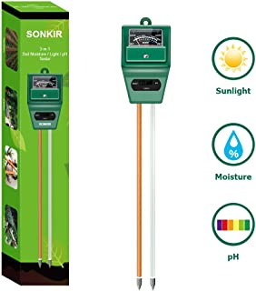 Sonkir Soil pH Meter, MS02 3-in-1 Soil Moisture/Light/pH Tester Gardening Tool Kits for..