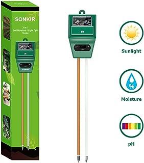 Sonkir Soil pH Meter, MS02 3-in-1 Soil Moisture/Light/pH...
