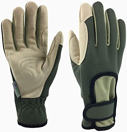 *Priority Choice* GREENLINE - Breathable Synthetic Leather Garden Gloves Gardening Gloves Working Gloves with Stretch Polyester & Spandex Back (Olive Green/Light Khaki)