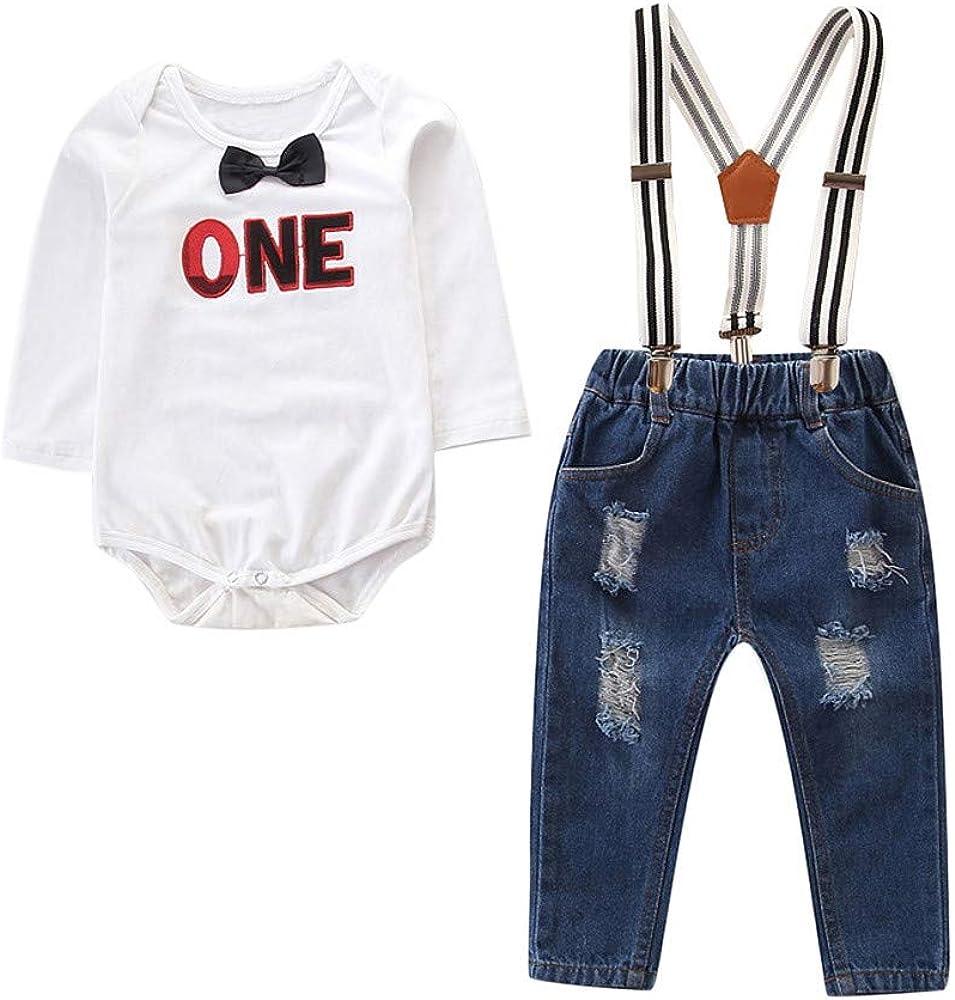 2pcs Baby Kleidung Set Jungen Gentleman Kurzarm Wei/ß Strampler Jumpsuit Shirt Top Zhen Strap Jeans Hosen 0-24 Monate Neugeborenes Baby Casual Formales Outfits Set