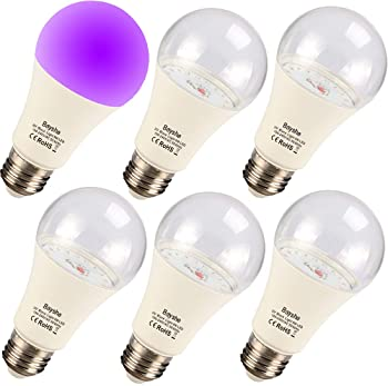 Bayshe Black Lights Bulbs, 9W A19 E26 Bulb,UVA Level 395-400nm,Glow in The Dark,Body Paint,Fluorescent Poster,Neon Gl...