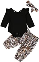 Baby Girl Boy Clothes,Newborn Infant Baby Girl Boy Romper Leopard Pants Headbands Jumpsuit Outfits Set