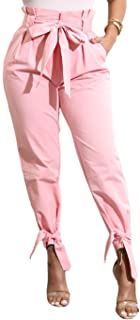 Yissang Women's Casual Loose High Waist Long Pencil Pants with Bow Tie Belt