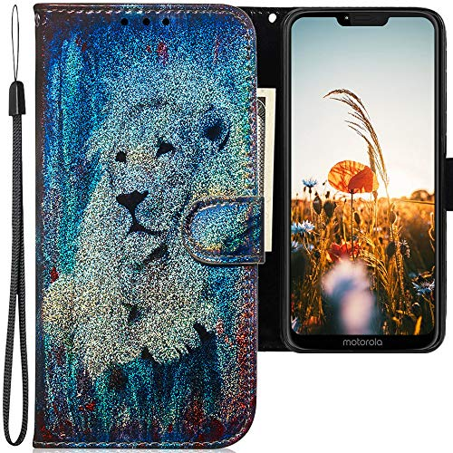 CLM-Tech Hülle kompatibel mit Motorola Moto G7 Power - Tasche aus Kunstleder - Klapphülle mit Ständer & Kartenfächern, Löwe weiß bunt