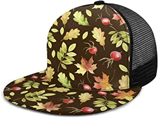 Baseball Cap Mesh Back Watercolor Autumn Nature Sun Trucker Hats Women Men Boys Girls