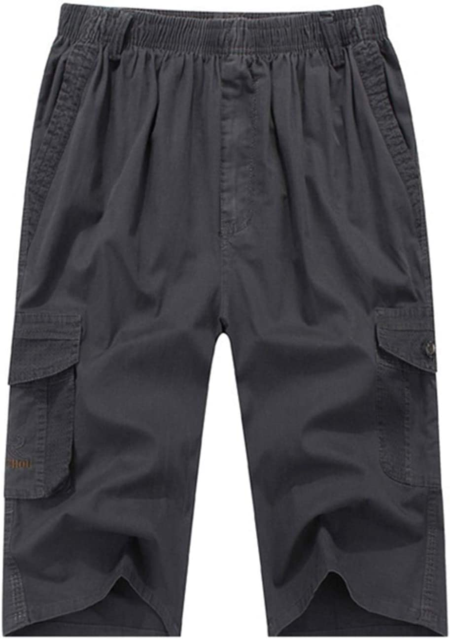 Yiqinyuan Summer Men's Cargo Shorts Pocket Cotton Plus Size Casual Elasticated Waist Shorts Stretch Khaki Dark Grey 5XL-85-95KG