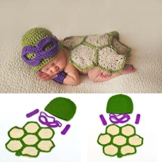 Osye Baby Crochet Knitted Outfit Turtle Costume Set Photography Photo Props (Purple)