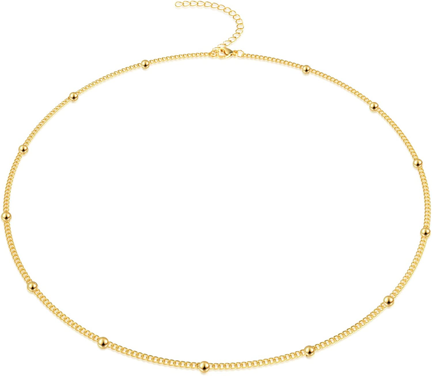 Jewlpire Gold Chain Choker Necklaces for Women - 18K Gold Plated Dainty Satellite Bead Paperclip Chain Necklace and Bracelet Set Personalized Jewelry Set Gift