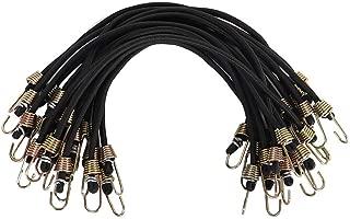 XSTRAP 10-Inch Mini Bungee Cords 20 Pieces Steel Hooks (Black)