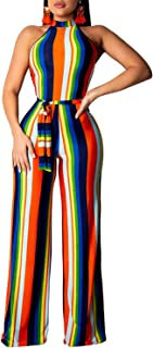One Piece Wide Leg Jumpsuit Sexy Sleeveless Long Pants Party Rompers with Belt