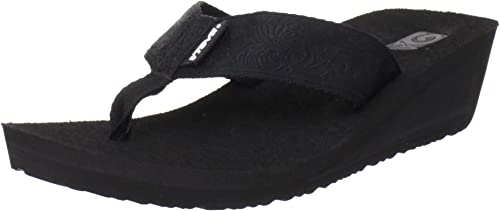 Teva Woherren Mush Mandalyn Flip Flop,Motif schwarz,6 M US