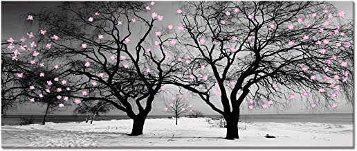 Welmeco Large Canvas Wall Art Decor Black and White Winter Twin Trees with Abstract Pink Flowers Graffiti Picture Prints Artwork for Modern Home Office Living Room Decoration (20