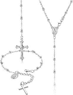 Finrezio 2 Pezzi Set di Gioielli con Bracciale Collana con Perline di Rosario per Donne Ragazze Pendente Croce Crocifisso ...