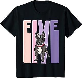 Enfant 5 Ans Anniversaire Retro Bulldog Bouledogue français Filles T-Shirt