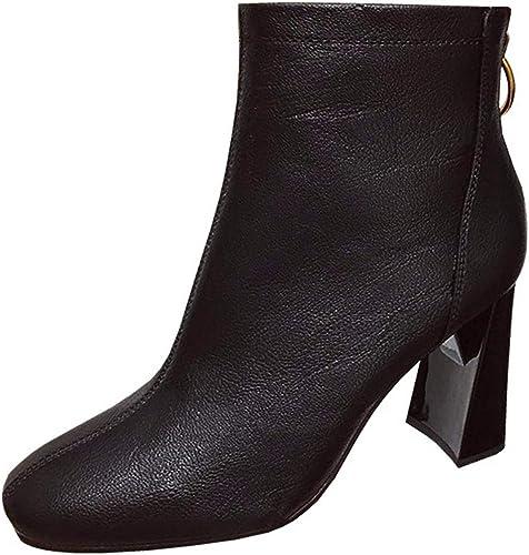 LBTSQ Fashion Chaussures Femme Slim des Bottes Mode 8 La Hauteur du Talon Simple Zipper Tête Carrée épais De Talon Noir des Bottes