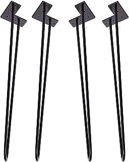 """Locisne 2 tringles 28""""paquet de 4 lourds épingle cheveux robuste table Legs-Weld poudre enduit acier noir mat moderne épin..."""