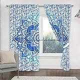 Sophia-Art Juego de 2 cortinas para colgar en la pared, diseño de mandala con flores azules y diseño de mandala para ventana, 2 unidades de longitud