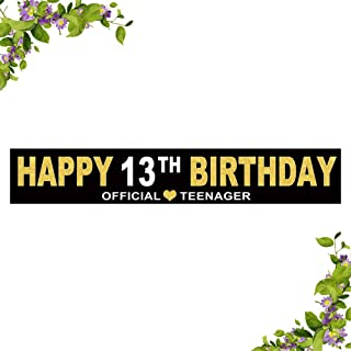 Large Happy 13th Birthday Banner, Black and Gold Cheers to 13 Years Flag,Children's 13th Birthday Party Home Outdoor Decoration (9.8 x 1.6 feet)