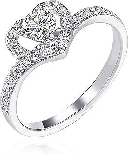 DIYA 1 قيراط مويسانيت الماس على شكل قلب هالة خواتم الفضة الاسترليني خواتم الخطوبة الزفاف للنساء لها لحبك عيد الميلاد عيد الحب