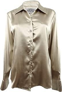 Kasper Women's 5 Button Long Sleeve Stretch Charmeuse Blouse