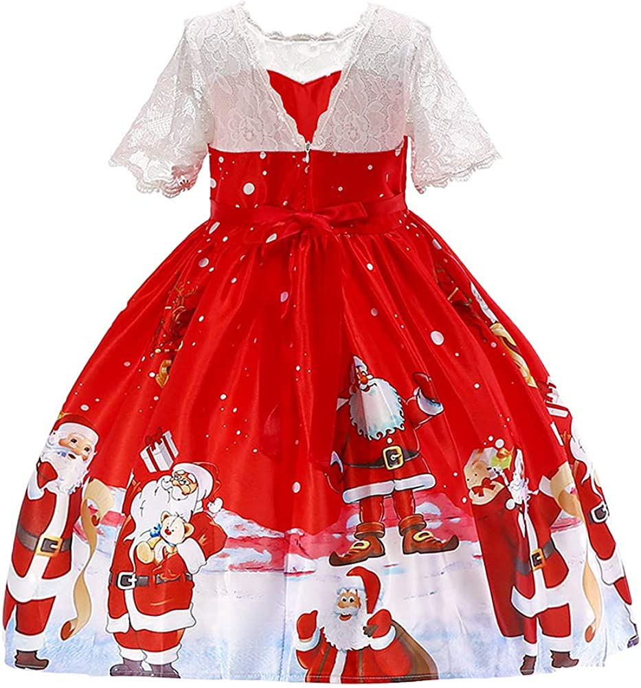 OBEEII Ni/ñas Vestido de Navidad Traje Christmas con Diadema de Reno Disfrace Xmas Fiesta Halloween Carnaval Ceremonia Aniversario para Beb/é 2-9 A/ños