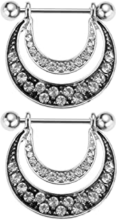 IPOTCH 1 Pair U-shaped Double Stainless Steel Barbell Nipplering 14g Body Piecing