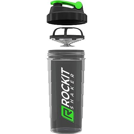 Rockitz Premium Shaker Proteines 1000ml - fonction de mélange premium avec filtre à infusion - pour des shakes protéinés fitness super crémeux, tasse à shake protéiné - Vert | Noir