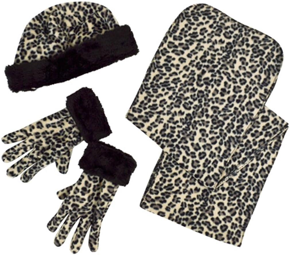 Lush Snow Leopard 3-Piece gloves scarf Hat Faux Fur Winter Set WSET91