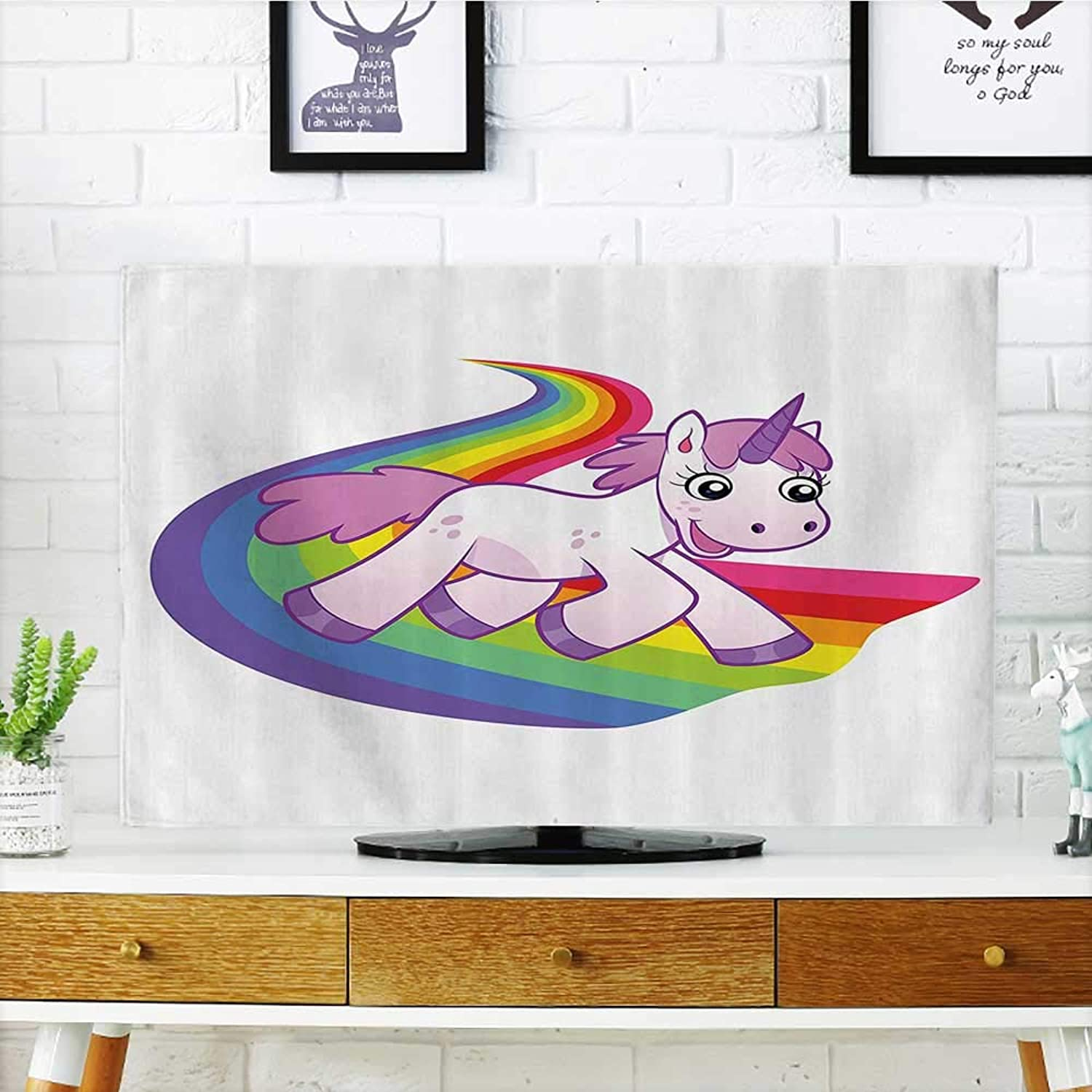 L-QN Cover for Wall Mount tv Baby Unicorn Runs The Rainbow Mythological ntasy Legendary Creature Cover Mount tv W32 x H51 INCH TV 55
