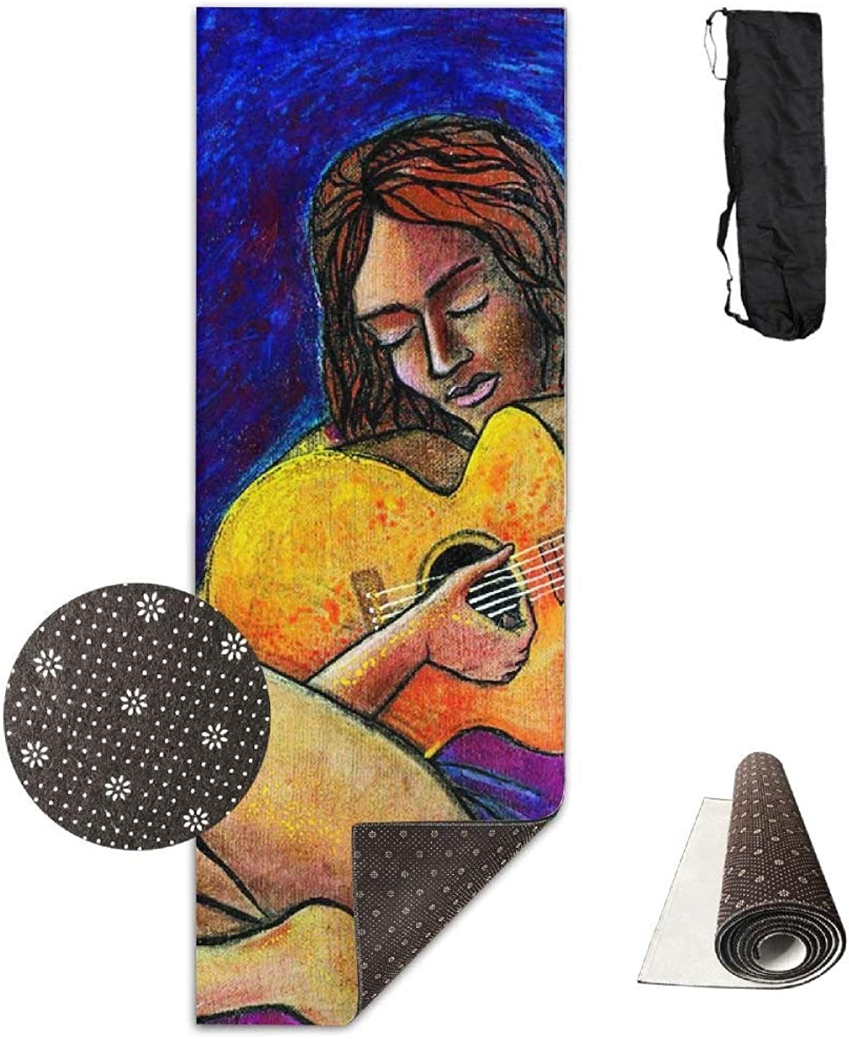 Classical Guitar Painting Yoga Mat  Advanced Yoga Mat  NonSlip Lining  Easy to Clean  LatexFree  Lightweight and Durable  Long 180 Width 61cm