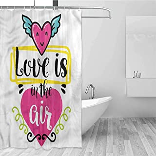 GloriaJohnson Quote Extra Long Shower Curtain Love is in Air Quote Tropical Shower Curtain W62 x L72 Inch