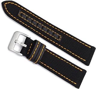22mm Hadley Roma Black Orange Stitched Genuine Kevlar Mens Watch Band 848