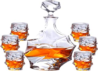 ZZKOKO Whiskey Decanter Set, 7-Piece Crystal Whiskey Glass Set Mens Gift, Premium Liquor Decanter with 6 Exquisite Cocktail Glasses for Rum, Scotch or Bourbon, Dishwasher Safe (S09)
