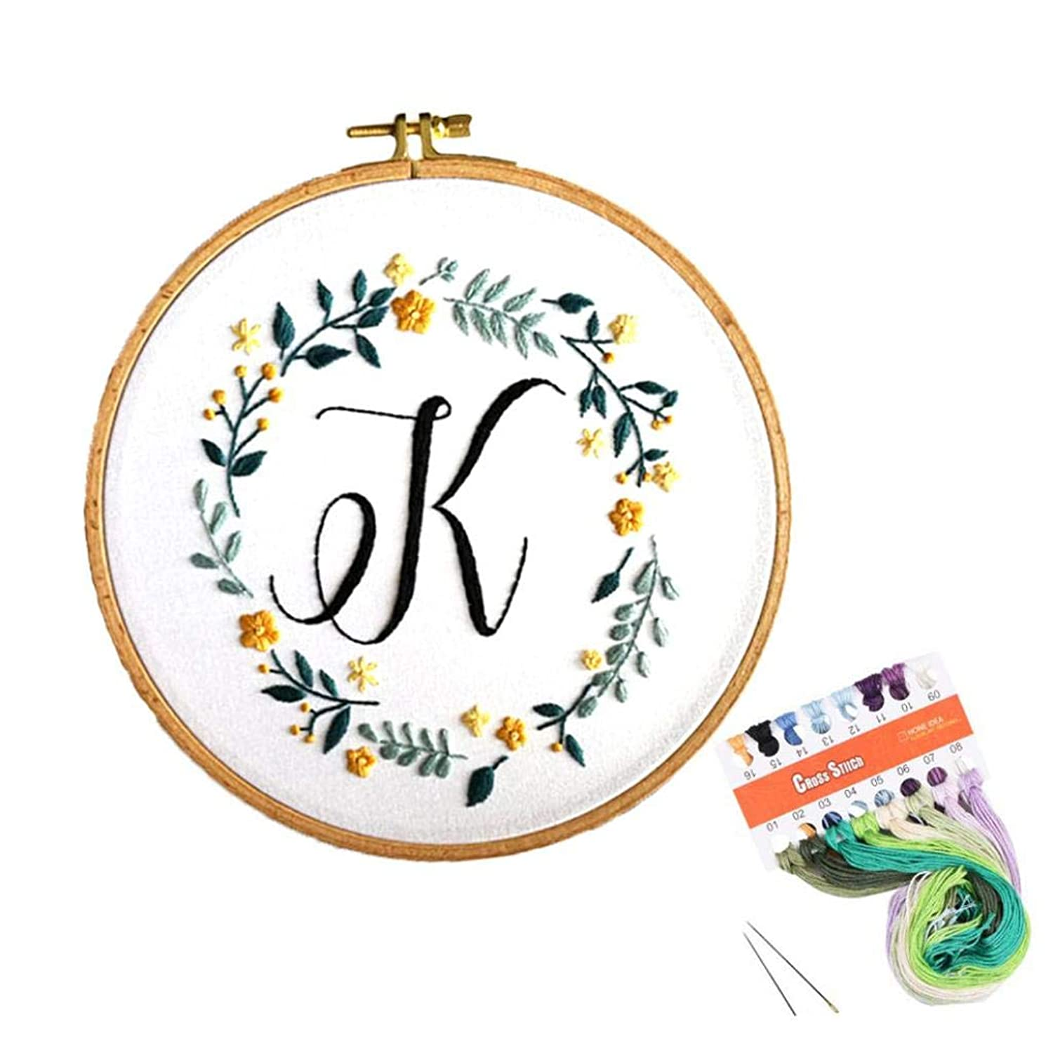 Louise Maelys Embroidery Starter Kit Full Range of Stamped Cross Stitch Kits for Beginner Including Embroidery Cloth with Pattern, Embroidery Hoop, Color Threads, Tools Kit