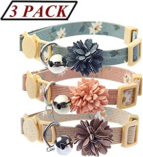 BoomBone Pack of 3 Cat Flower Collar - Breakaway Small Dog Collars with Bell