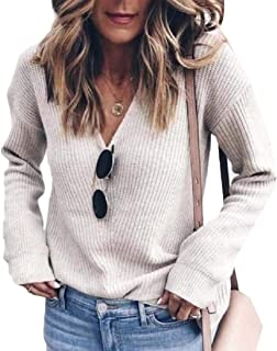 Women's Solid V Neck Loose Sweater Long Sleeve Jumper Pullover Knitted Top