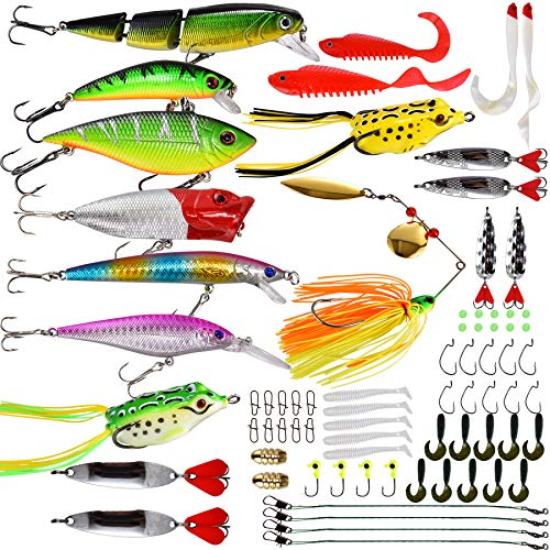 NOBONDO Fishing Lures Baits Set with Tackle Box Including Crankbait, Spinner Baits, Swimbaits, Topwater Frog, Popper, Soft Plastic Worms and More Fishing Gear Kits for Bass, Trout and Salmon