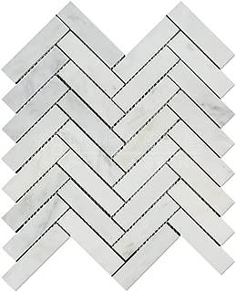Oriental White (Eastern White) Marble 1 X 4 Herringbone Mosaic Tile, Honed