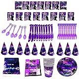 Game Party Vajilla para Incluye pancartas platos tazas servilletas gorro cuchara tenedores y cuchillos Video Gaming Party Supplies
