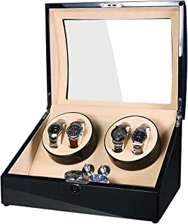 SAMWOO Handmade Wooden Double Automatic Watch Winder Storage Boxes for 4 Watches, Watch Storage Display Box, Jewelry Winde...