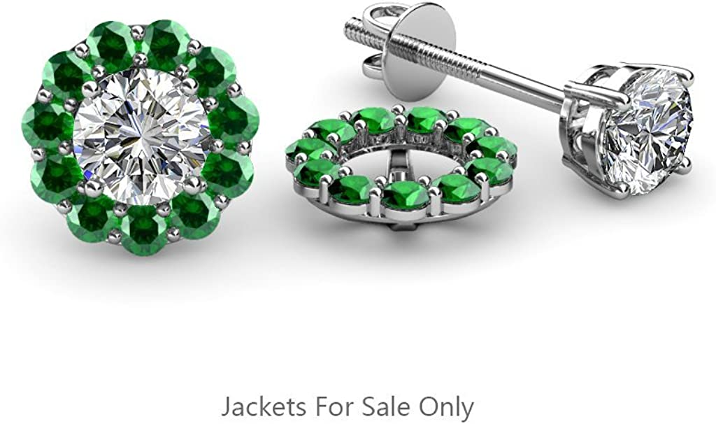 TriJewels Emerald Halo Jacket for Stud Earrings 0.64 ct tw in 14K White Gold