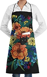 ZGZGZ Hidden In The Flower Cat Adjustable Bib Apron Waterdrop Resistant With 2 Pocket Fashion Cooking Kitchen Aprons