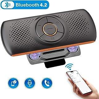 Zexmte 車載用Bluetoothスピーカー ワイヤレススピーカー ハンズフリー 音楽再生 TFカード Siri&Googleアシスタント対応 Bluetooth4.2 2台待ち受け サンバイザークリップ付き ポータブルスピーカー 車/家/オフィス/アウトドアに適用