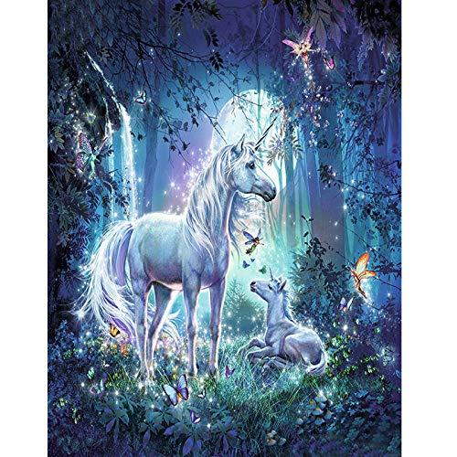 CGZLNL Pintar por Numeros para Adultos Unicornio Animal Kit de Pintura al óleo de Lienzo DIY, Pintura por Números con Pinceles y Pigmento Acrílico 40x50 cm Sin Marco