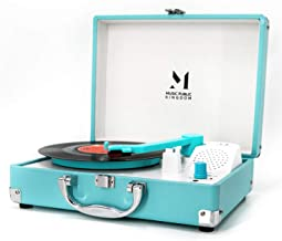 Record Player, MPK Portable Mini Suitcase Turntable for 7 Inch Vinyl Record, Belt-Drive 2-Speed Turntable with Built in Stereo Speakers (Blue)