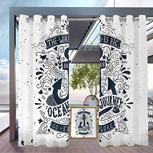 crabee Anchor Outdoor Sheer Curtain Balcony, Deck Curtains Adventure and Exploration Themed Arrangement with Swirls and Paisley Shapes Dark Blue and White