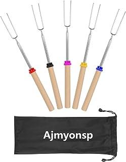 Ajmyonsp キャンプファイヤー ファイヤーピットとソーセージバーベキュー 32inチ 用 木製 ハンドル延長フォーク 伸縮式smores串とマシュマロ焙煎スティック 木材
