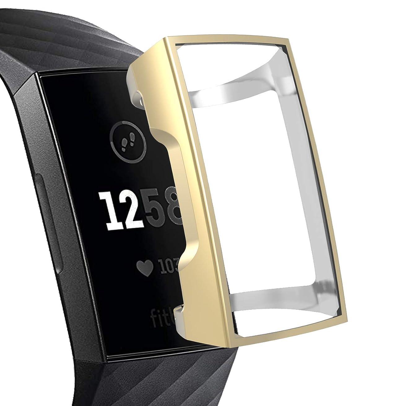 鉄道駅あいさつチップXIHAMA For Fitbit Charge3 保護カバー スクリーン全面保護ケース TPU素材 フレーム メッキ加工 腕時計カバー 耐衝撃 (ゴールド)