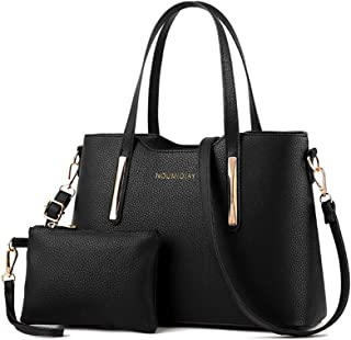 Tinksky 2pcs Womens Leather Shoulder Bag Top-handle Handbags Tote Purse Bags For Girls Office Ladies, Mother's Day gift or gift for women (Black)